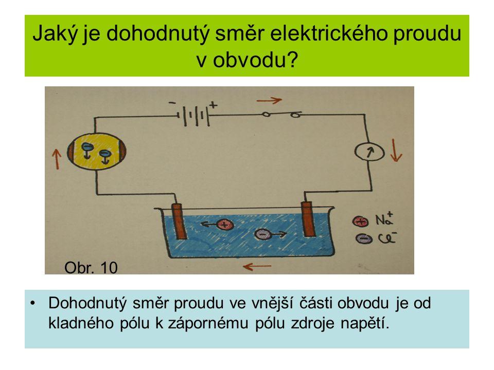 Jaký je dohodnutý směr elektrického proudu v obvodu? Dohodnutý směr proudu ve vnější části obvodu je od kladného pólu k zápornému pólu zdroje napětí.