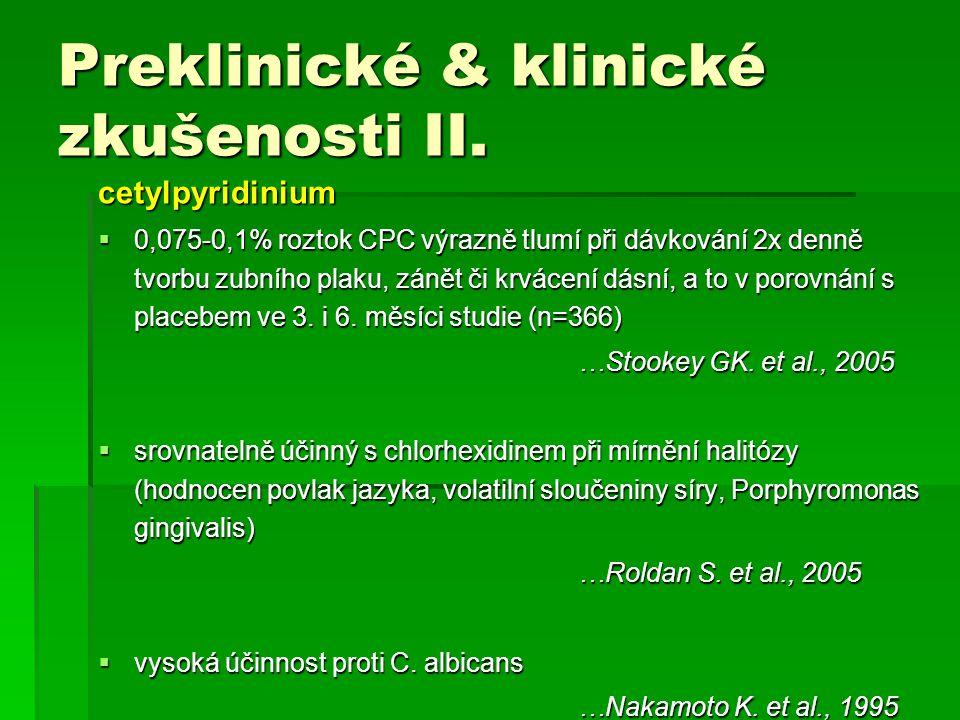 Preklinické & klinické zkušenosti II. cetylpyridinium  0,075-0,1% roztok CPC výrazně tlumí při dávkování 2x denně tvorbu zubního plaku, zánět či krvá