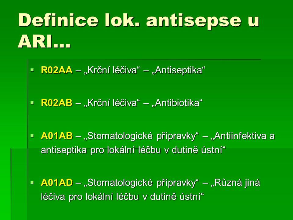 """Definice lok. antisepse u ARI...  R02AA – """"Krční léčiva"""" – """"Antiseptika""""  R02AB – """"Krční léčiva"""" – """"Antibiotika""""  A01AB – """"Stomatologické přípravky"""