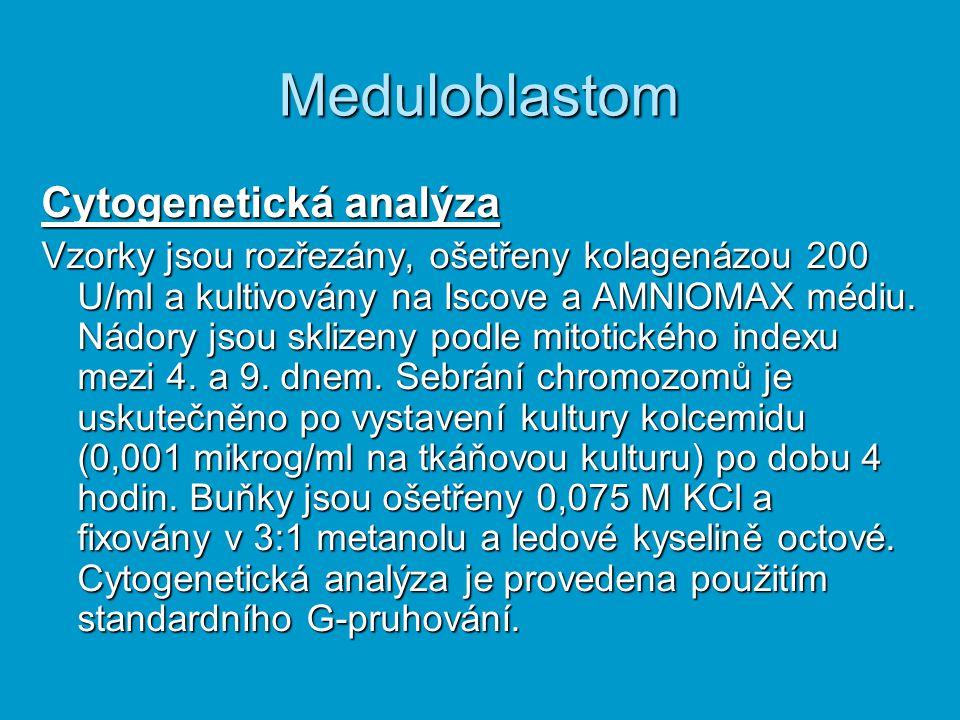 Meduloblastom Cytogenetická analýza Vzorky jsou rozřezány, ošetřeny kolagenázou 200 U/ml a kultivovány na Iscove a AMNIOMAX médiu. Nádory jsou sklizen