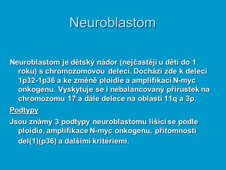 Neuroblastom Neuroblastom je dětský nádor (nejčastěji u dětí do 1 roku) s chromozomovou delecí. Dochází zde k deleci 1p32-1p36 a ke změně ploidie a am