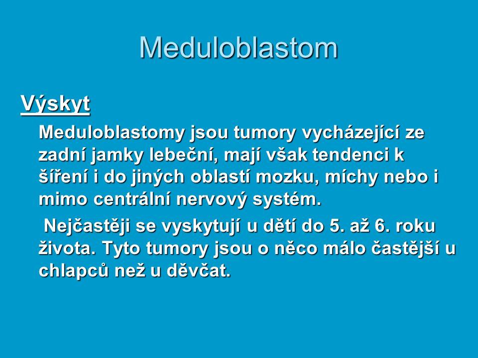 Meduloblastom Výskyt Meduloblastomy jsou tumory vycházející ze zadní jamky lebeční, mají však tendenci k šíření i do jiných oblastí mozku, míchy nebo