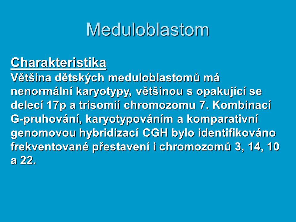 Charakteristika Většina dětských meduloblastomů má nenormální karyotypy, většinou s opakující se delecí 17p a trisomií chromozomu 7. Kombinací G-pruho