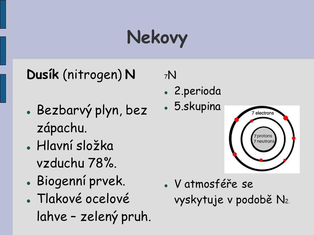 Nekovy Dusík (nitrogen) N Bezbarvý plyn, bez zápachu.