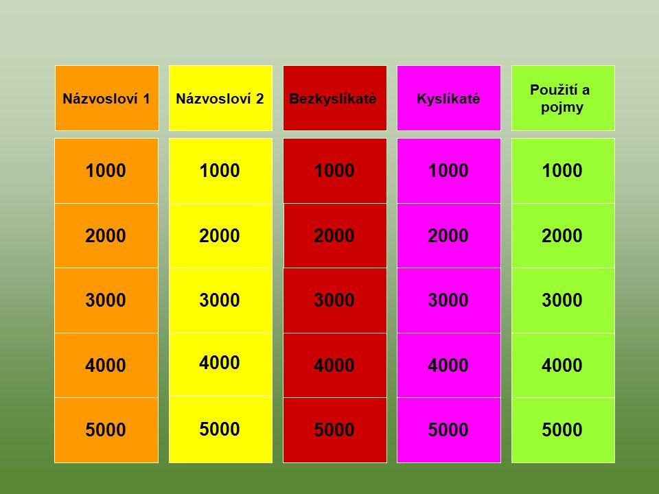 Použití a pojmy Názvosloví 2Názvosloví 1BezkyslíkatéKyslíkaté 1000 4000 3000 2000 5000 1000 4000 3000 2000 5000 1000 5000 3000 4000 2000 1000 2000 300
