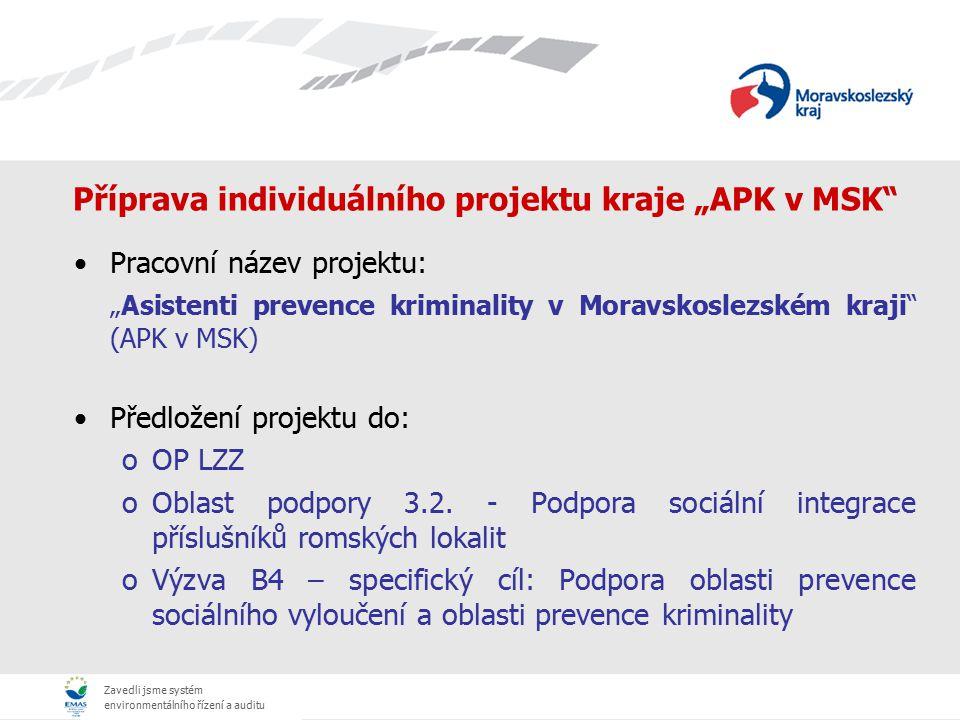 """Zavedli jsme systém environmentálního řízení a auditu Příprava individuálního projektu kraje """"APK v MSK"""" Pracovní název projektu: """"Asistenti prevence"""