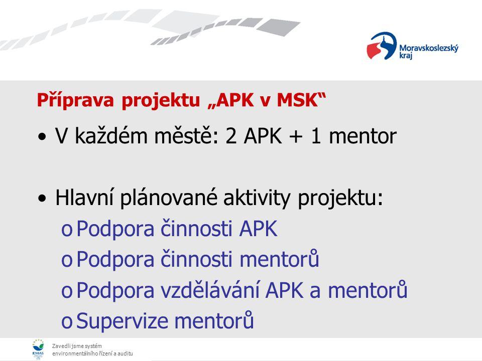 """Zavedli jsme systém environmentálního řízení a auditu Příprava projektu """"APK v MSK"""" V každém městě: 2 APK + 1 mentor Hlavní plánované aktivity projekt"""