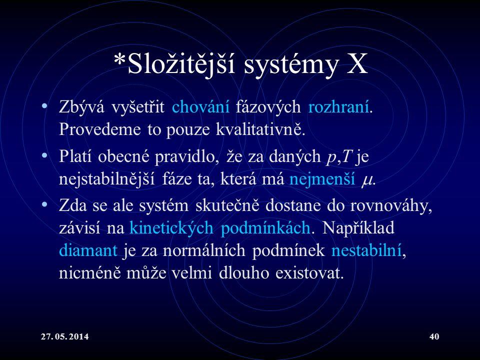 27. 05. 201440 *Složitější systémy X Zbývá vyšetřit chování fázových rozhraní.