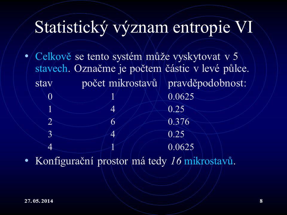 27. 05. 20148 Statistický význam entropie VI Celkově se tento systém může vyskytovat v 5 stavech.
