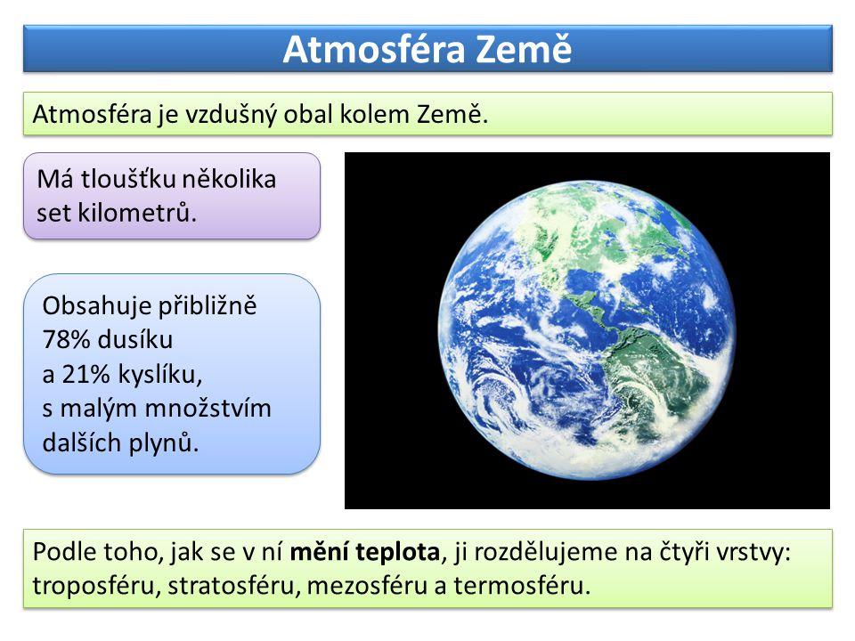 Atmosféra Země Atmosféra je vzdušný obal kolem Země.