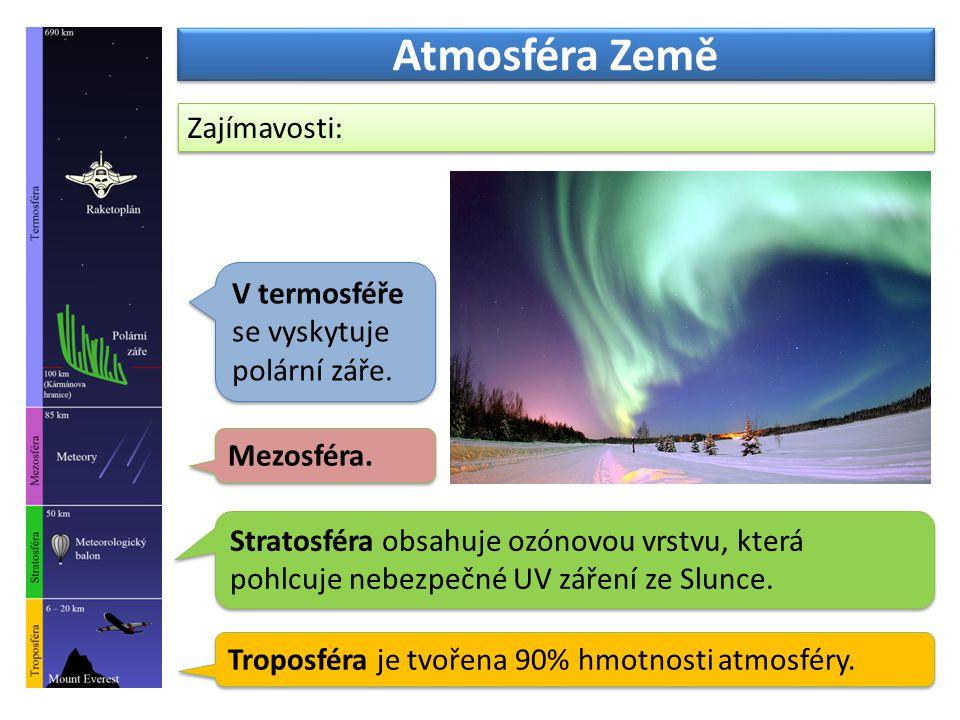 Atmosféra Země Troposféra je tvořena 90% hmotnosti atmosféry.