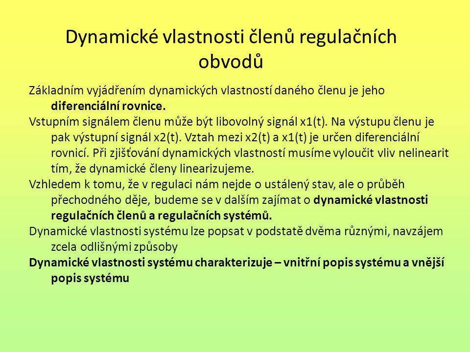 Dynamické vlastnosti členů regulačních obvodů Základním vyjádřením dynamických vlastností daného členu je jeho diferenciální rovnice.