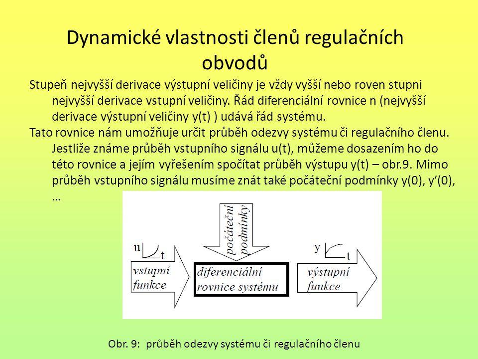 Dynamické vlastnosti členů regulačních obvodů Stupeň nejvyšší derivace výstupní veličiny je vždy vyšší nebo roven stupni nejvyšší derivace vstupní veličiny.