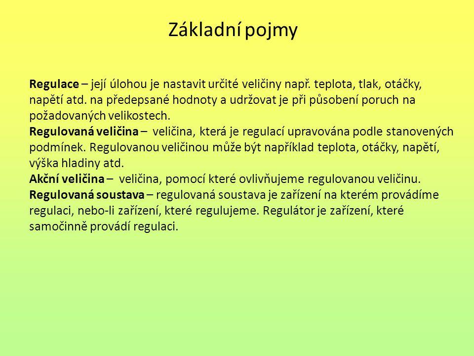 Základní pojmy Regulace – její úlohou je nastavit určité veličiny např.