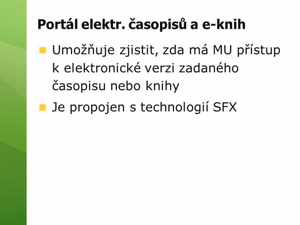 Portál elektr. časopisů - ukázka Zadání názvu časopisu