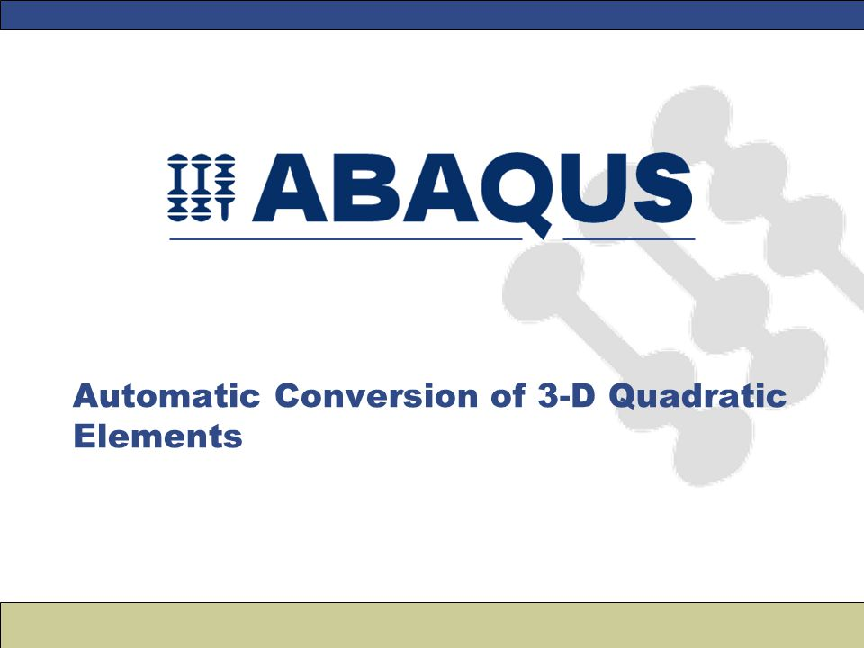 Automatic Conversion of 3-D Quadratic Elements