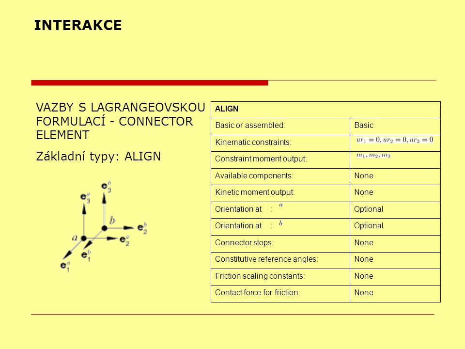 INTERAKCE VAZBY S LAGRANGEOVSKOU FORMULACÍ - CONNECTOR ELEMENT Základní typy: ALIGN NoneContact force for friction: NoneFriction scaling constants: No