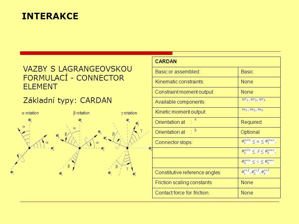 INTERAKCE VAZBY S LAGRANGEOVSKOU FORMULACÍ - CONNECTOR ELEMENT Základní typy: CARDAN NoneContact force for friction: NoneFriction scaling constants: C