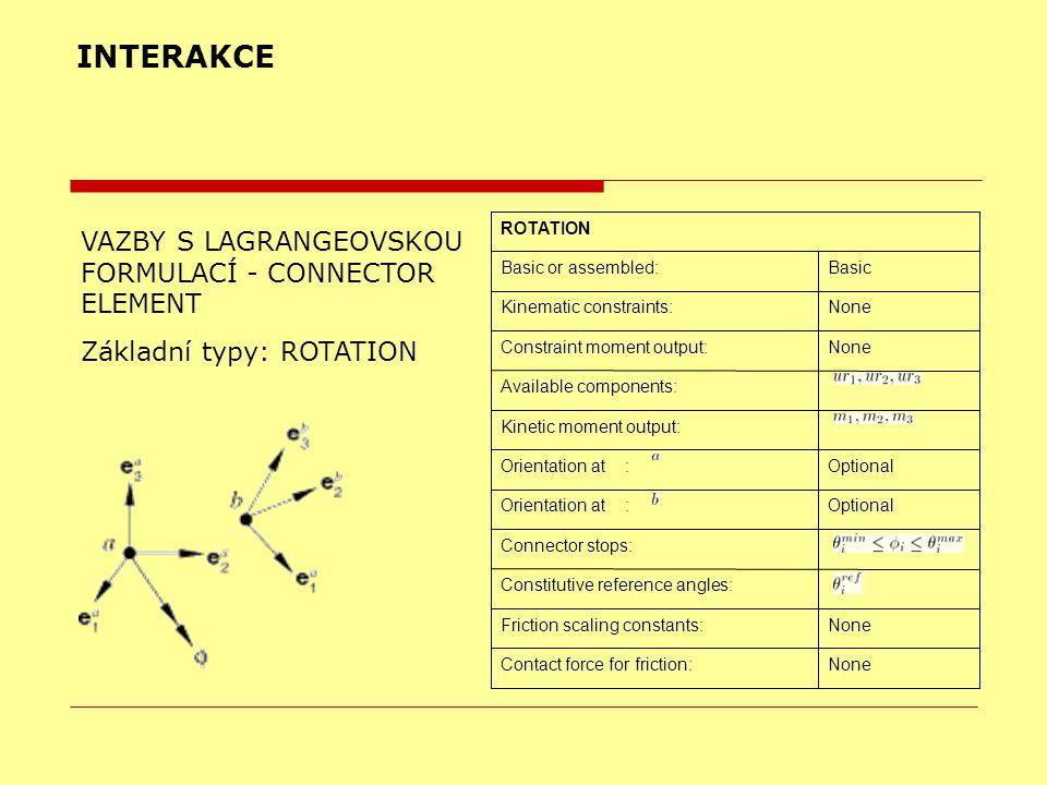 INTERAKCE VAZBY S LAGRANGEOVSKOU FORMULACÍ - CONNECTOR ELEMENT Základní typy: ROTATION NoneContact force for friction: NoneFriction scaling constants: