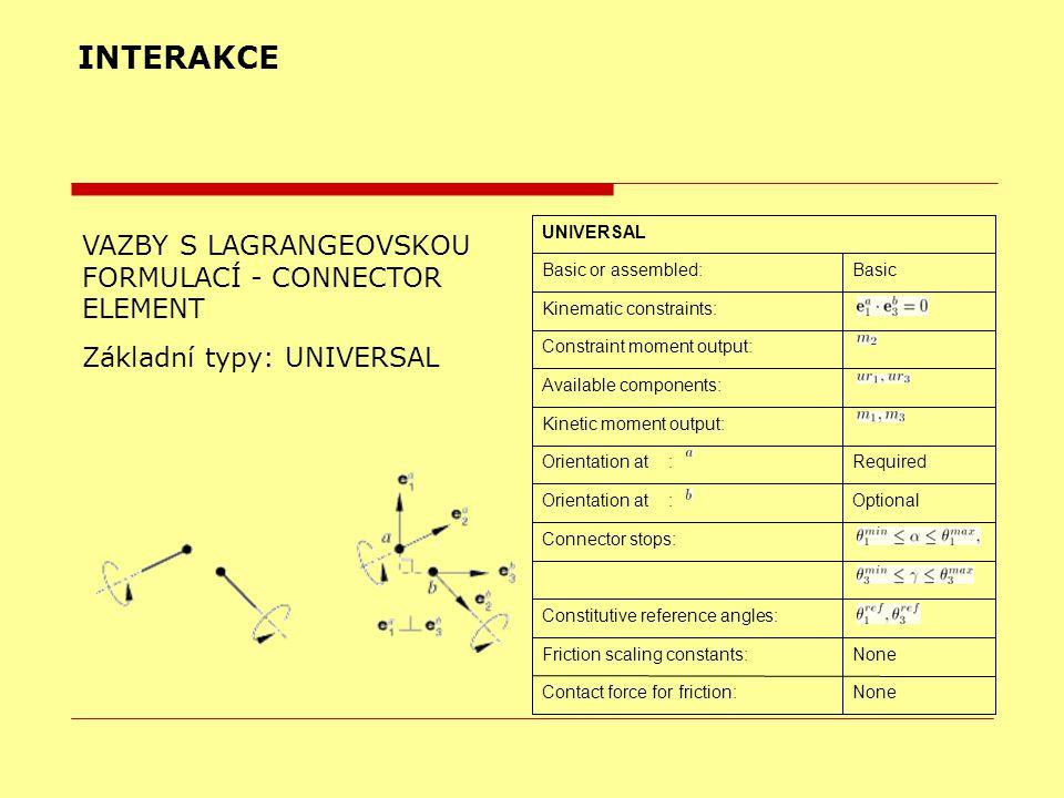 INTERAKCE VAZBY S LAGRANGEOVSKOU FORMULACÍ - CONNECTOR ELEMENT Základní typy: UNIVERSAL NoneContact force for friction: NoneFriction scaling constants