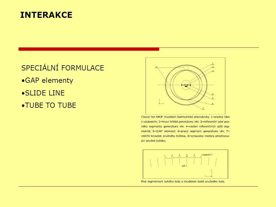 INTERAKCE SPECIÁLNÍ FORMULACE GAP elementy SLIDE LINE TUBE TO TUBE