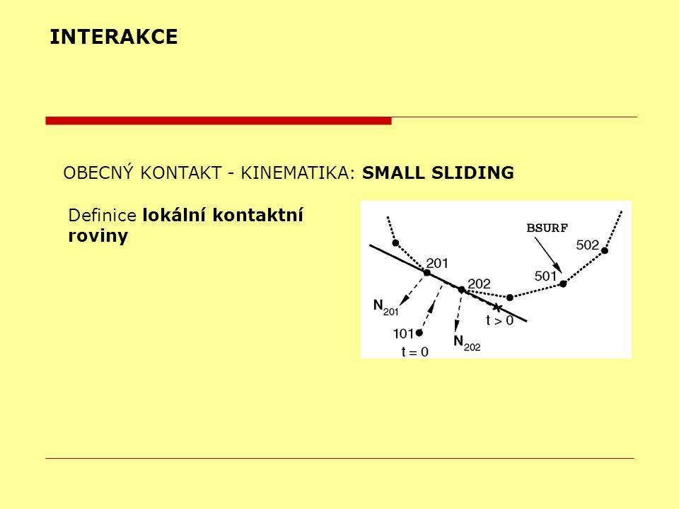 INTERAKCE OBECNÝ KONTAKT - KINEMATIKA: SMALL SLIDING Definice lokální kontaktní roviny