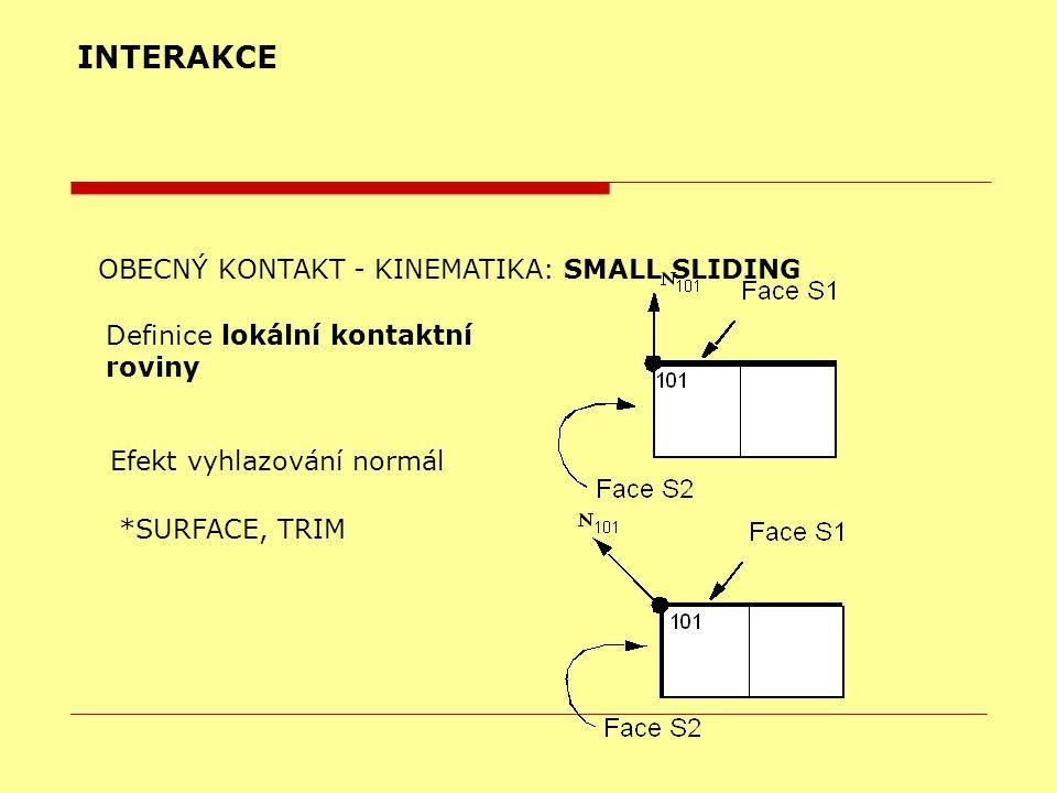 INTERAKCE OBECNÝ KONTAKT - KINEMATIKA: SMALL SLIDING Definice lokální kontaktní roviny Efekt vyhlazování normál *SURFACE, TRIM