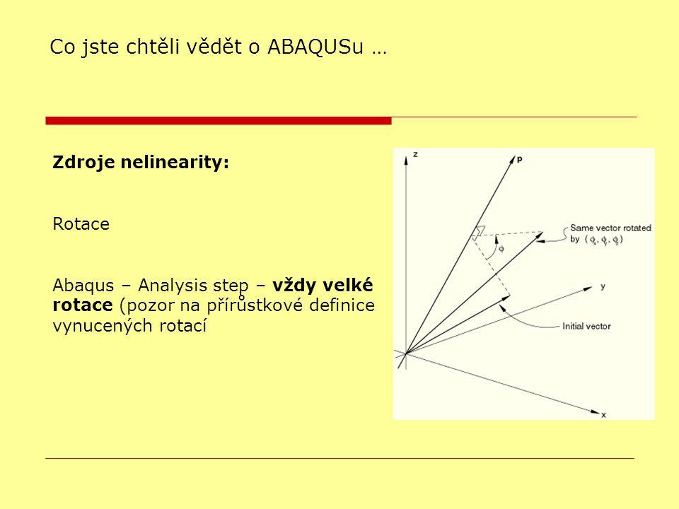 Co jste chtěli vědět o ABAQUSu … Zdroje nelinearity: Rotace Abaqus – Analysis step – vždy velké rotace (pozor na přírůstkové definice vynucených rotací