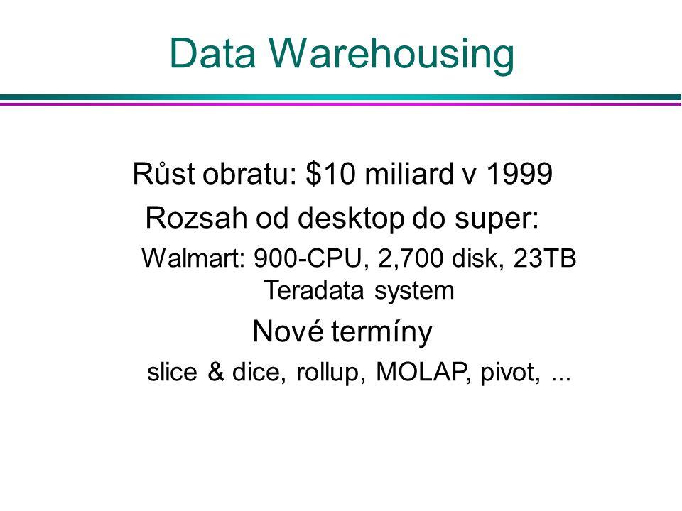 Data Warehousing Růst obratu: $10 miliard v 1999 Rozsah od desktop do super: Walmart: 900-CPU, 2,700 disk, 23TB Teradata system Nové termíny slice & d