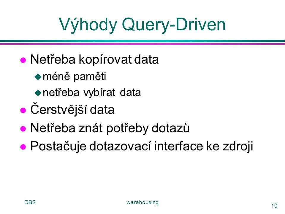 DB2warehousing 10 Výhody Query-Driven l Netřeba kopírovat data u méně paměti u netřeba vybírat data l Čerstvější data l Netřeba znát potřeby dotazů l