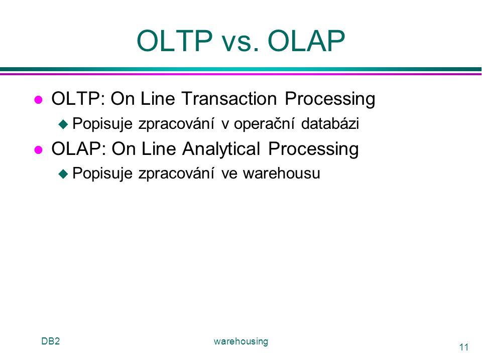 DB2warehousing 11 OLTP vs. OLAP l OLTP: On Line Transaction Processing u Popisuje zpracování v operační databázi l OLAP: On Line Analytical Processing