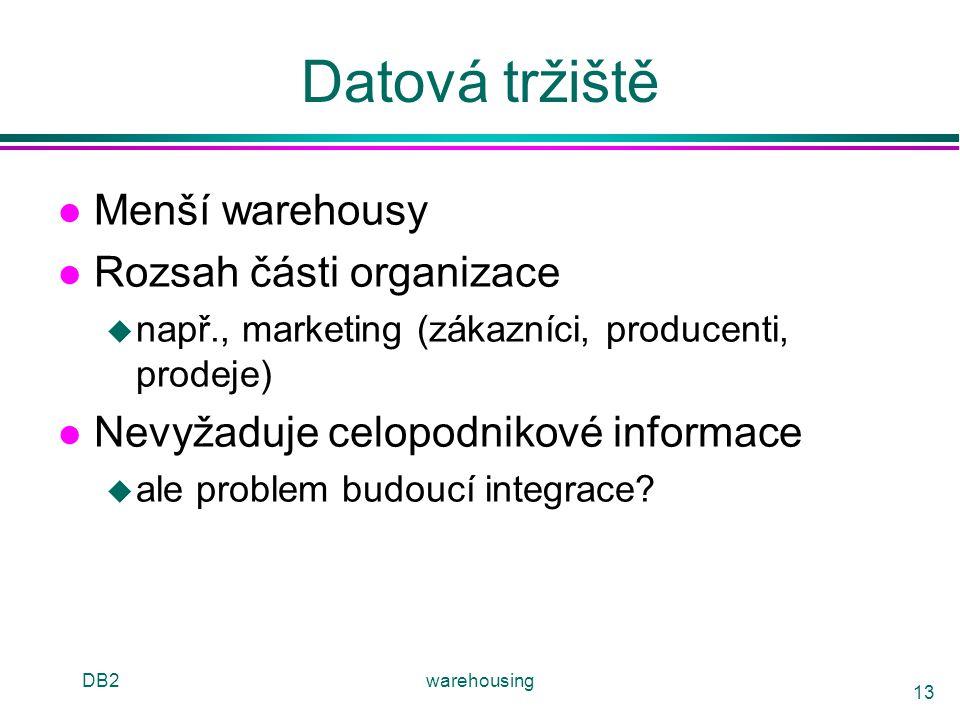 DB2warehousing 13 Datová tržiště l Menší warehousy l Rozsah části organizace u např., marketing (zákazníci, producenti, prodeje) l Nevyžaduje celopodn