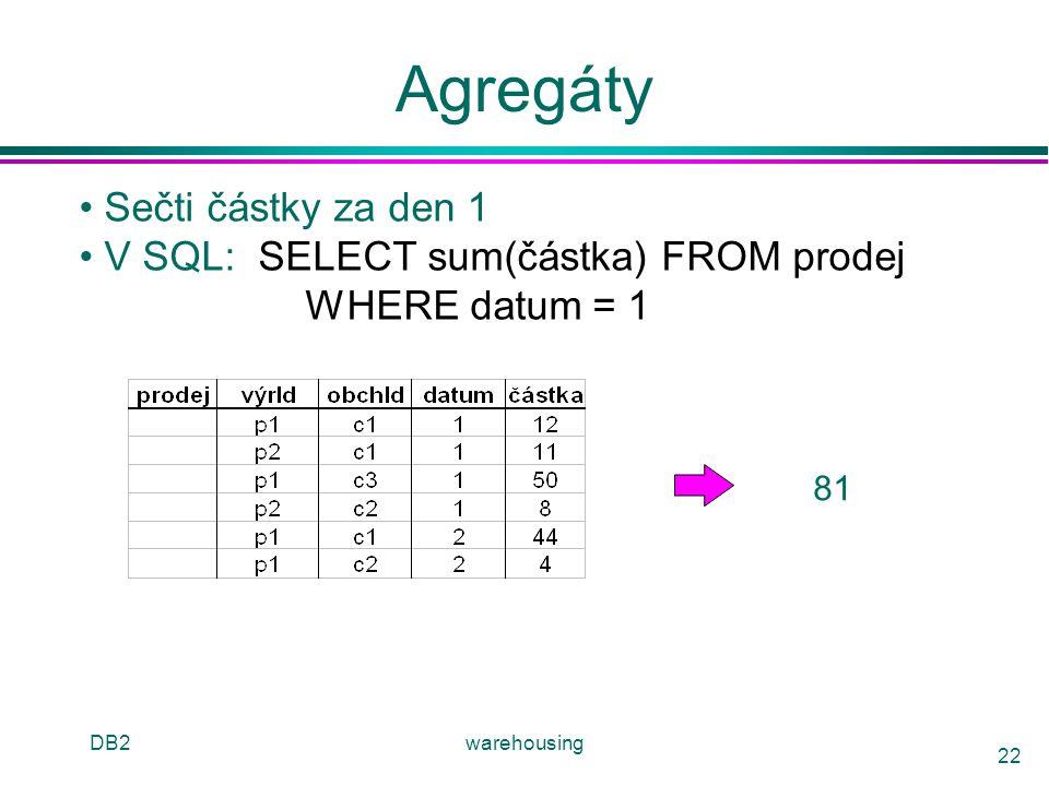 DB2warehousing 22 Agregáty Sečti částky za den 1 V SQL: SELECT sum(částka) FROM prodej WHERE datum = 1 81