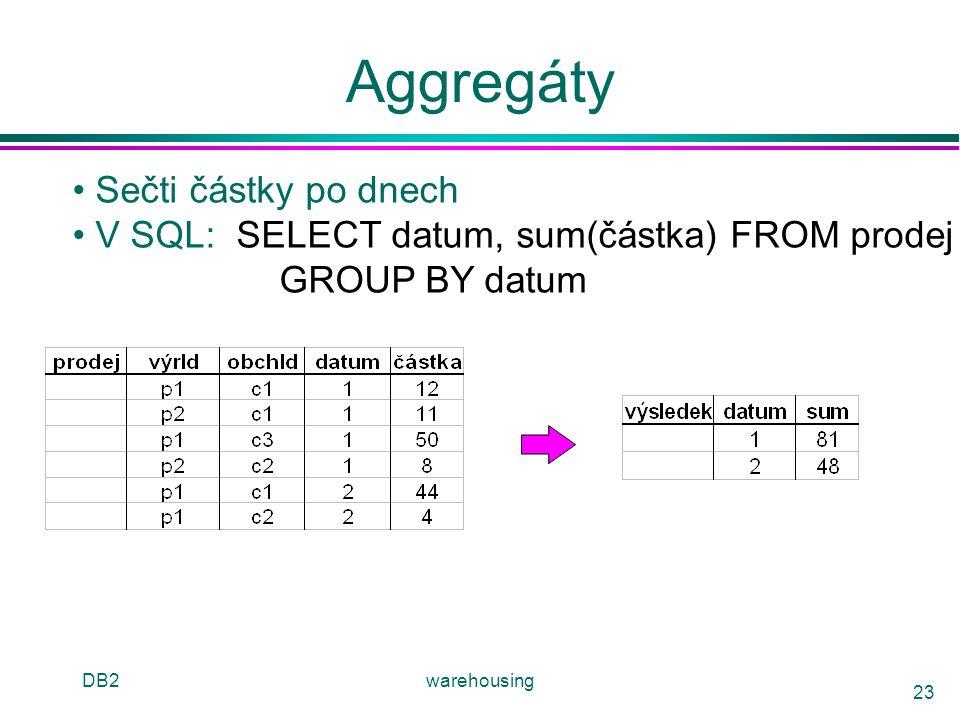 DB2warehousing 23 Aggregáty Sečti částky po dnech V SQL: SELECT datum, sum(částka) FROM prodej GROUP BY datum