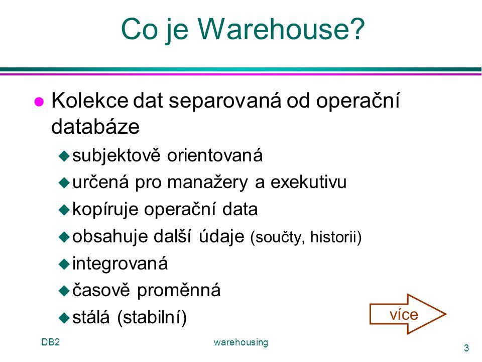 DB2warehousing 14 Modely & Operátory warehousu l Datové Modely u relační u hvězdice & vločky u krychle l Operátory u slice & dice (řez & výřez) u roll-up, drill-down (srolování, zavrtání) u pivoting u další