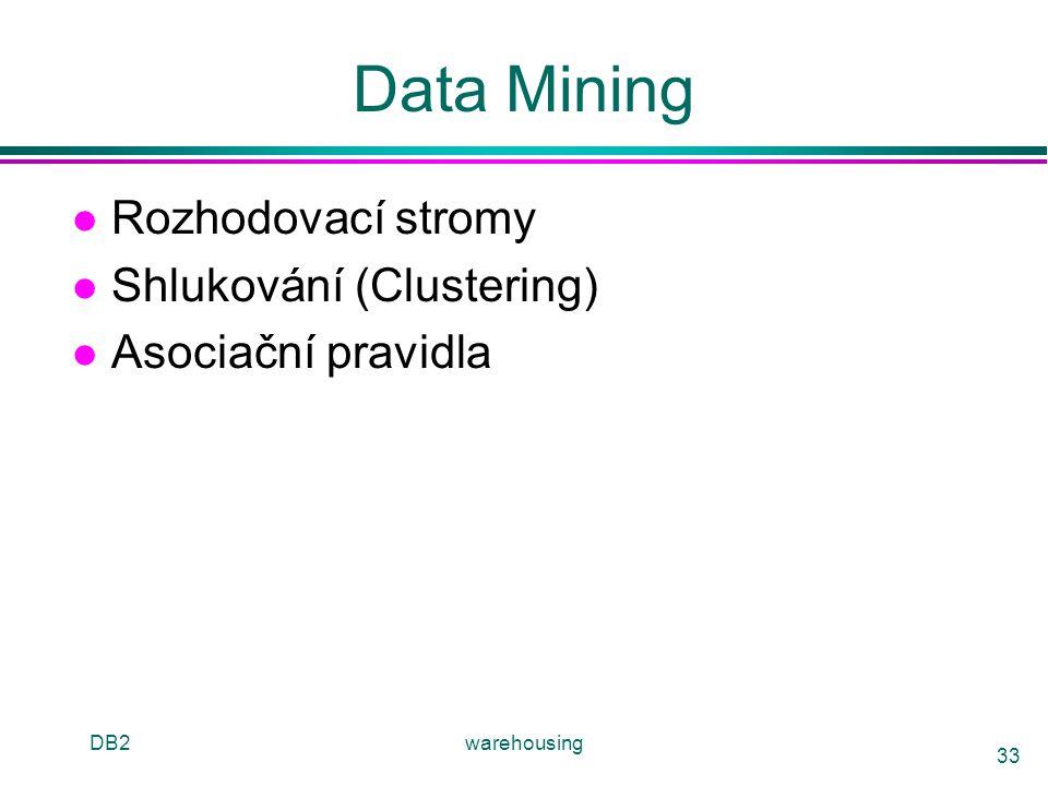 DB2warehousing 33 Data Mining l Rozhodovací stromy l Shlukování (Clustering) l Asociační pravidla
