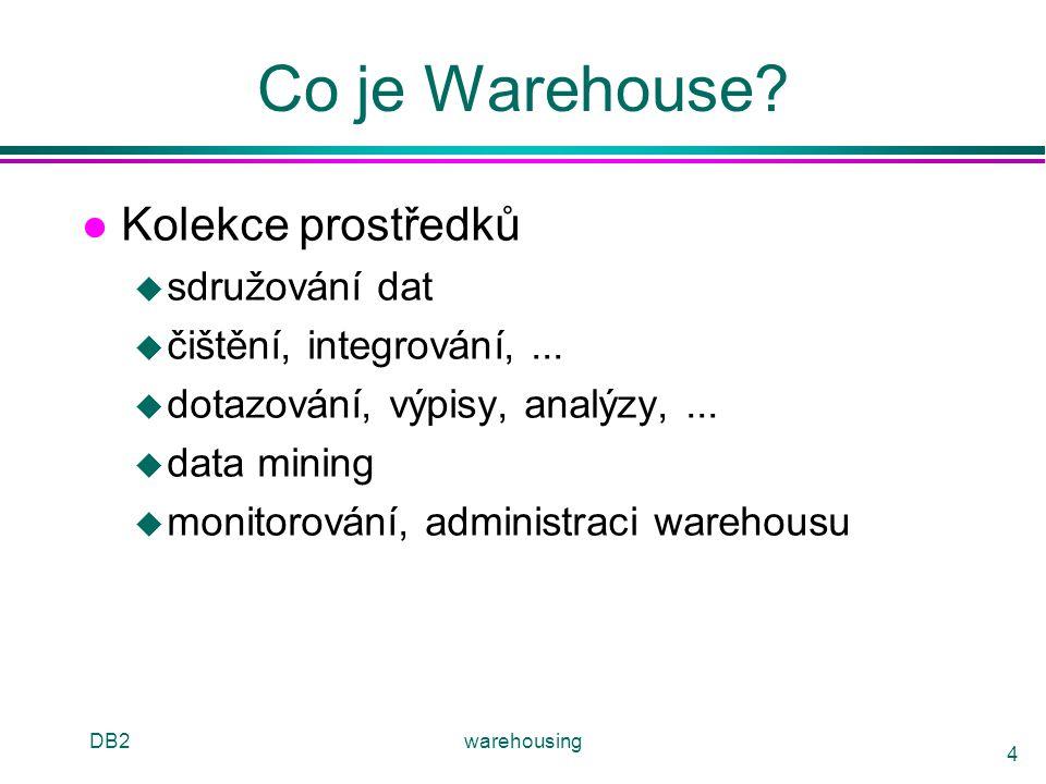 DB2warehousing 4 Co je Warehouse? l Kolekce prostředků u sdružování dat u čištění, integrování,... u dotazování, výpisy, analýzy,... u data mining u m