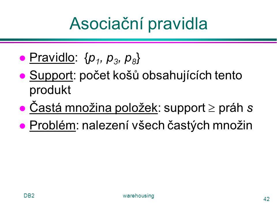 DB2warehousing 42 Asociační pravidla l Pravidlo: {p 1, p 3, p 8 } l Support: počet košů obsahujících tento produkt l Častá množina položek: support 