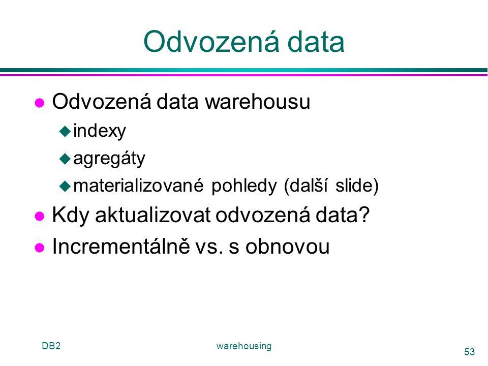 DB2warehousing 53 Odvozená data l Odvozená data warehousu u indexy u agregáty u materializované pohledy (další slide) l Kdy aktualizovat odvozená data