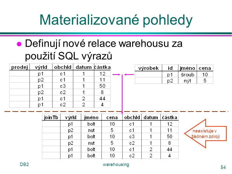 DB2warehousing 54 Materializované pohledy l Definují nové relace warehousu za použití SQL výrazů neexistuje v žádném zdroji