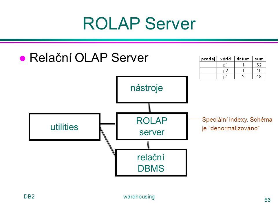 """DB2warehousing 56 ROLAP Server l Relační OLAP Server relační DBMS ROLAP server nástroje utilities Speciální indexy. Schéma je """"denormalizováno"""""""