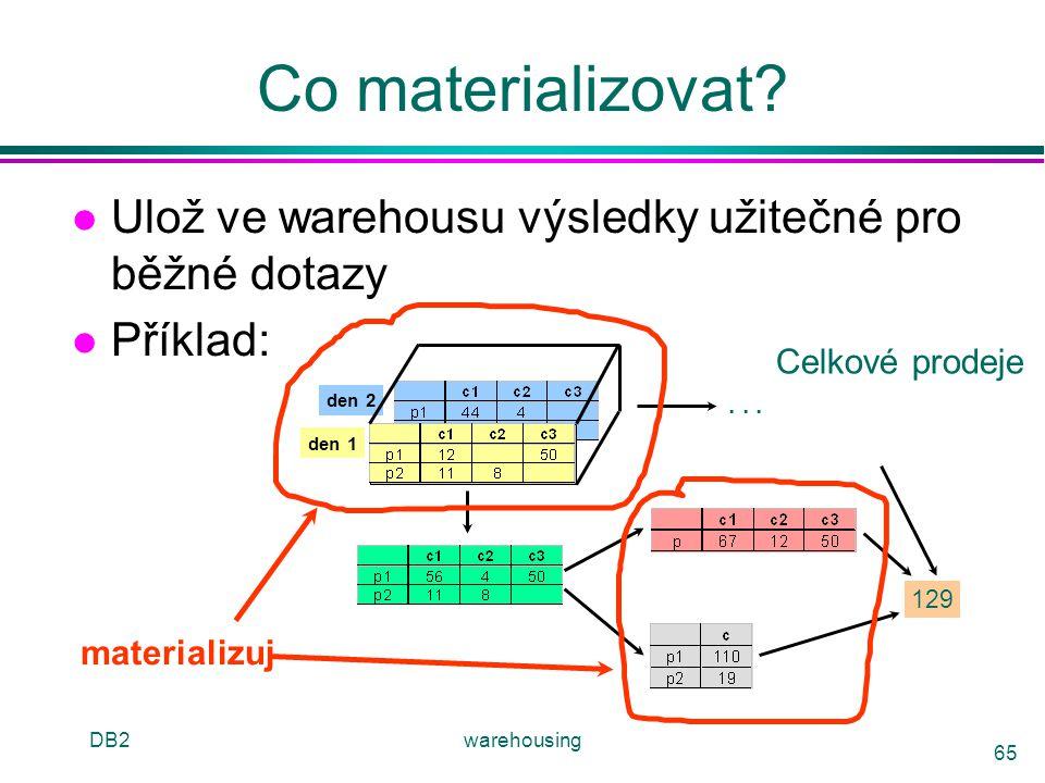 DB2warehousing 65 Co materializovat? l Ulož ve warehousu výsledky užitečné pro běžné dotazy l Příklad: den 2 den 1 129... Celkové prodeje materializuj