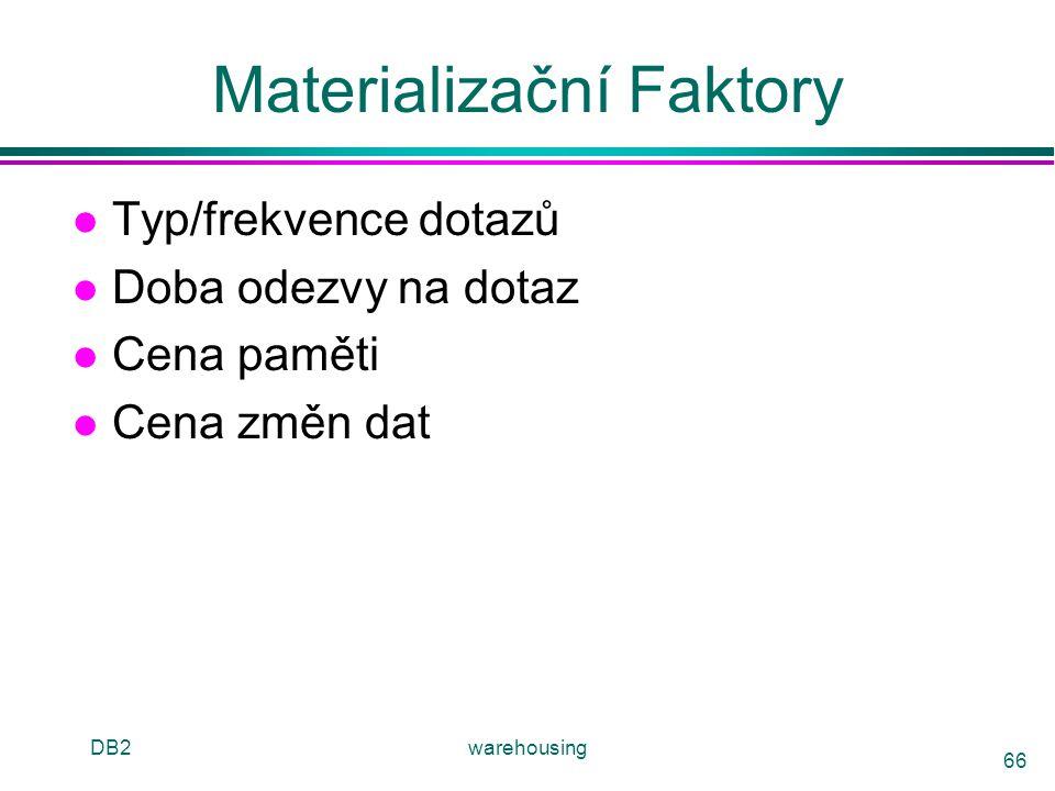 DB2warehousing 66 Materializační Faktory l Typ/frekvence dotazů l Doba odezvy na dotaz l Cena paměti l Cena změn dat