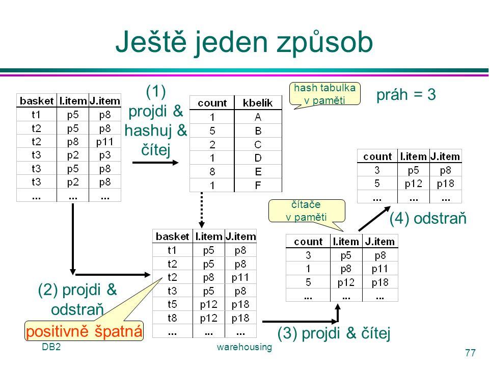DB2warehousing 77 Ještě jeden způsob (1) projdi & hashuj & čítej hash tabulka v paměti práh = 3 (2) projdi & odstraň (3) projdi & čítej (4) odstraň čí