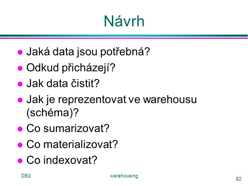 DB2warehousing 82 Návrh l Jaká data jsou potřebná? l Odkud přicházejí? l Jak data čistit? l Jak je reprezentovat ve warehousu (schéma)? l Co sumarizov