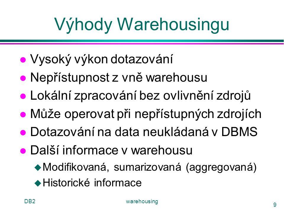 DB2warehousing 9 Výhody Warehousingu l Vysoký výkon dotazování l Nepřístupnost z vně warehousu l Lokální zpracování bez ovlivnění zdrojů l Může operov