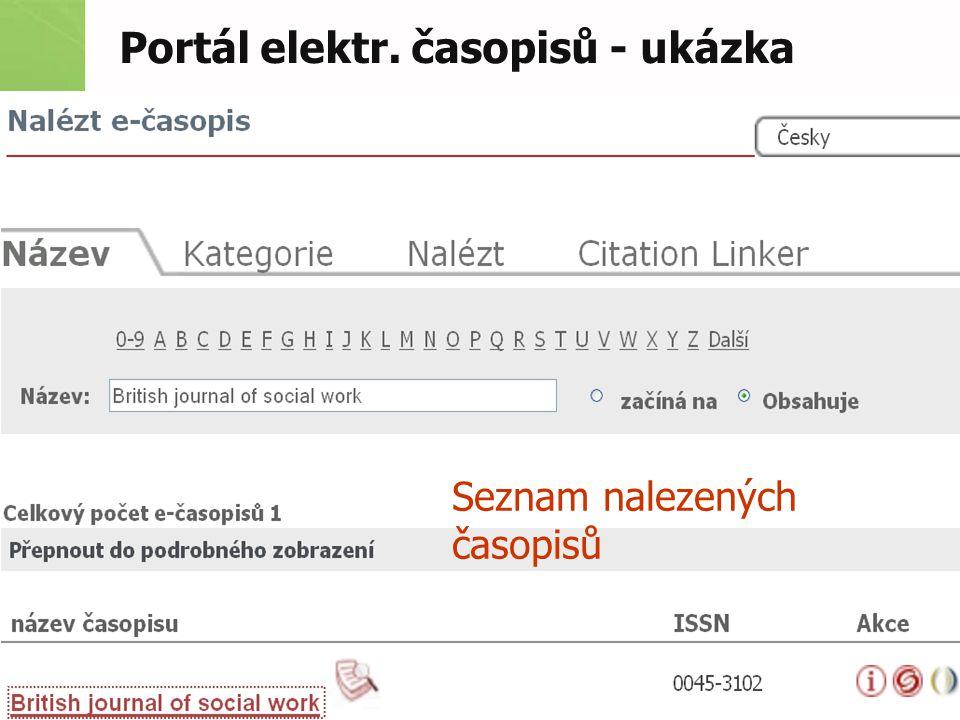 Portál elektr. časopisů - ukázka Seznam nalezených časopisů