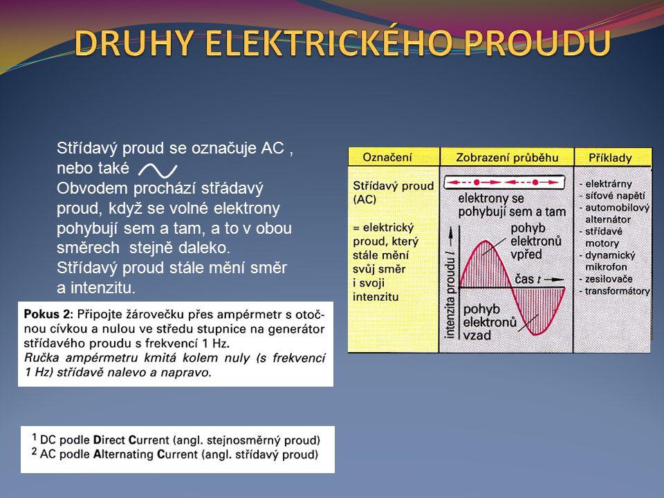 Střídavý proud se označuje AC, nebo také Obvodem prochází střádavý proud, když se volné elektrony pohybují sem a tam, a to v obou směrech stejně daleko.