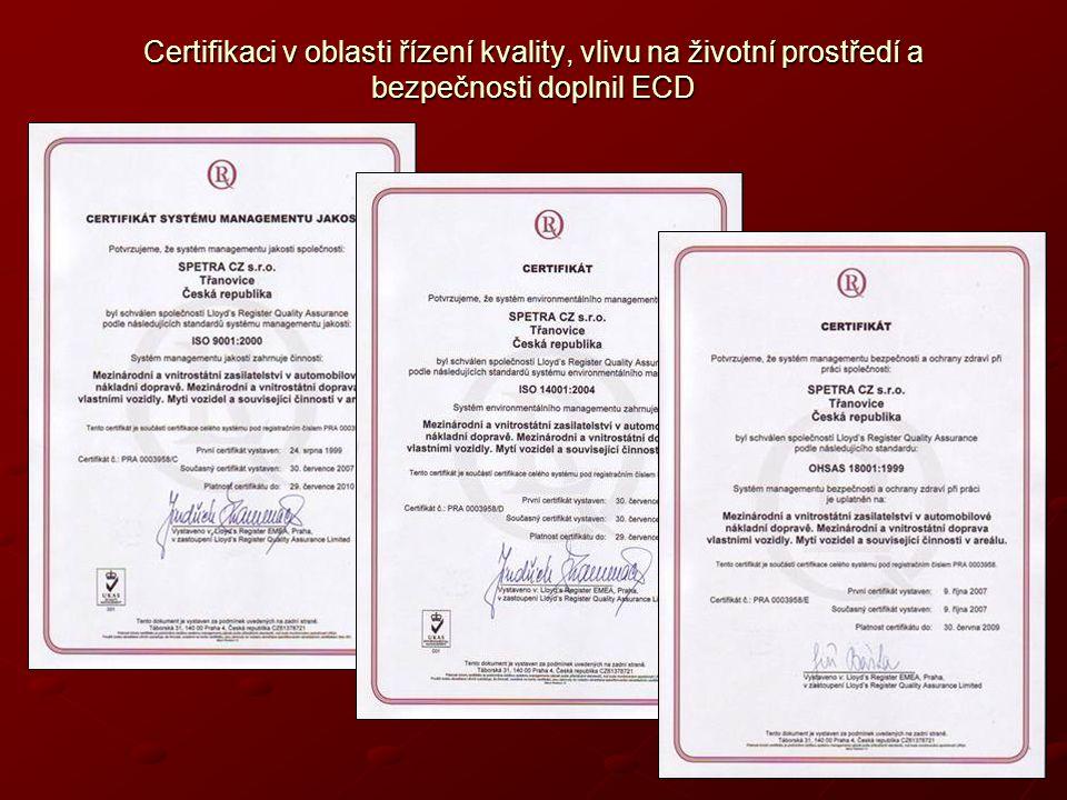 Certifikaci v oblasti řízení kvality, vlivu na životní prostředí a bezpečnosti doplnil ECD