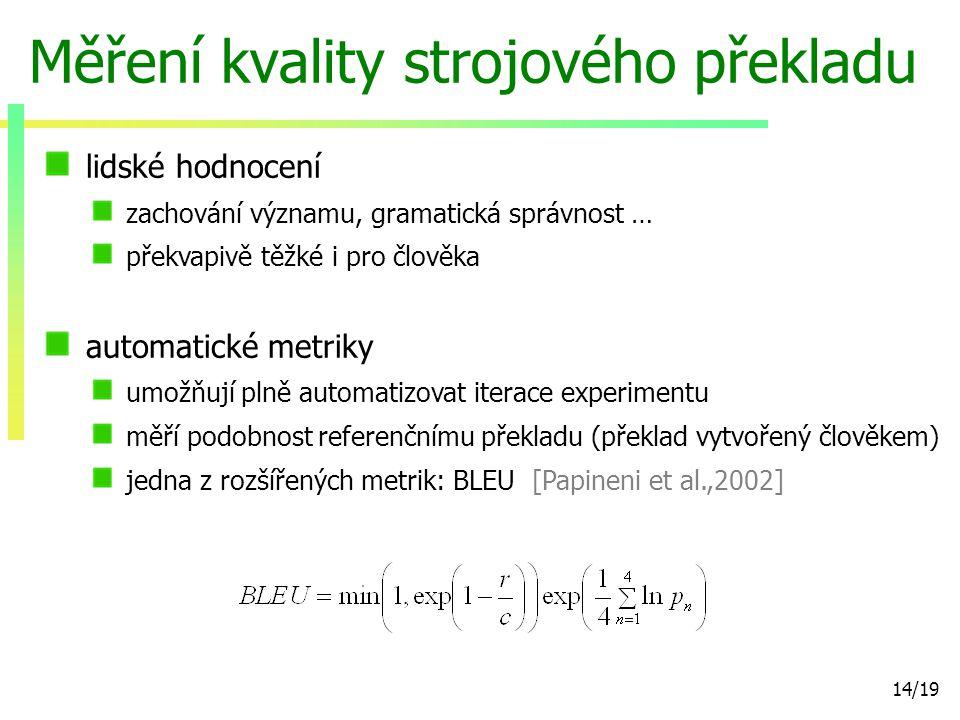 14/19 Měření kvality strojového překladu lidské hodnocení zachování významu, gramatická správnost … překvapivě těžké i pro člověka automatické metriky umožňují plně automatizovat iterace experimentu měří podobnost referenčnímu překladu (překlad vytvořený člověkem) jedna z rozšířených metrik: BLEU [Papineni et al.,2002]
